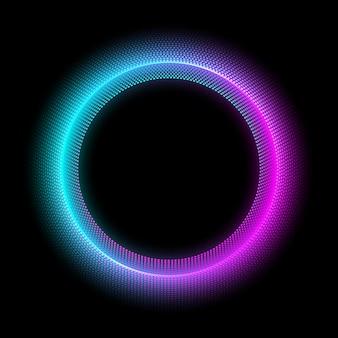 Cerchio al neon con effetto luce puntini. moderna cornice rotonda con spazio vuoto