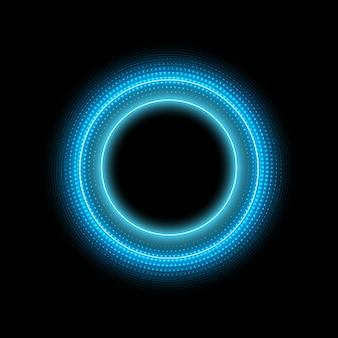 Cerchio al neon con effetto luce puntini su sfondo nero. moderna cornice rotonda con spazio vuoto