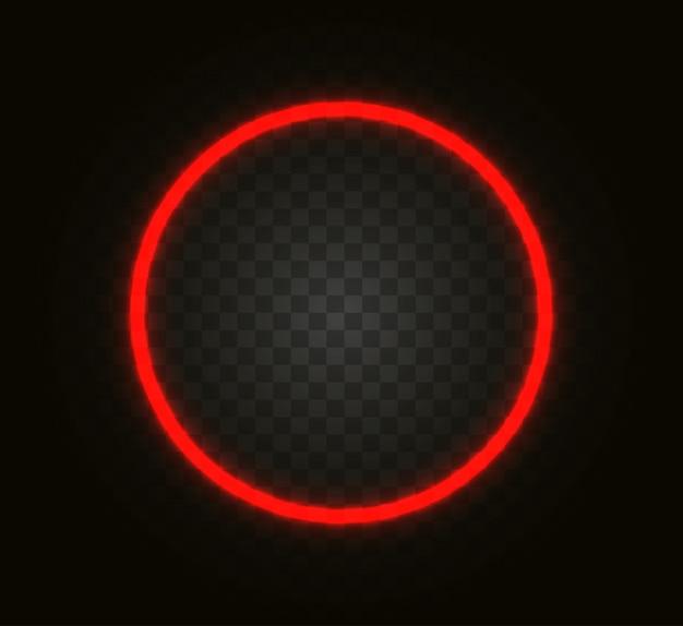 Cerchio al neon isolato su sfondo trasparente.