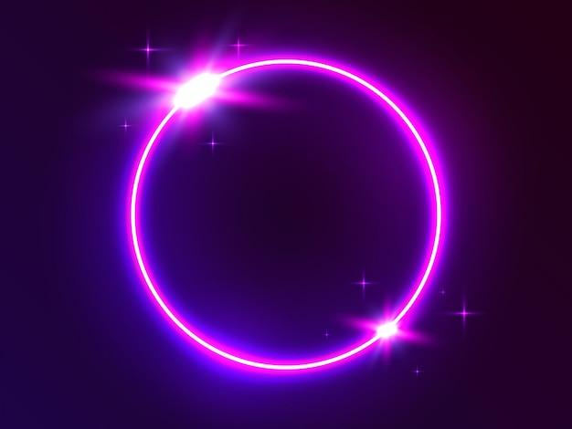 Cerchio al neon luce rotonda futuristica.