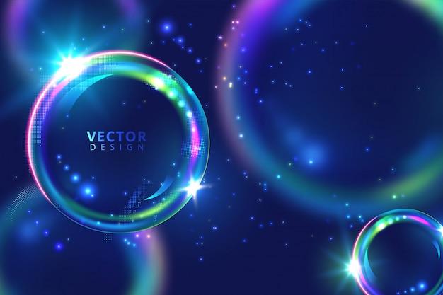 Cerchio al neon vibrante di vettore con bagliore. cornice rotonda moderna con spazio vuoto per il testo. illustrazione vettoriale