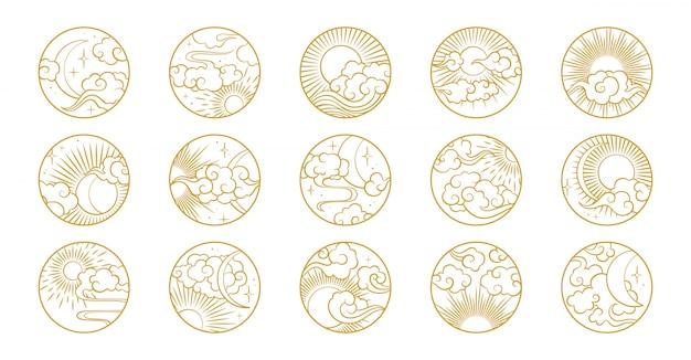 Cerchio asiatico impostato con nuvole, luna, sole, stelle. accumulazione di vettore nello stile orientale cinese, giapponese, coreano