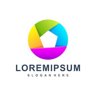 Cerchio colorato astratto logo premium