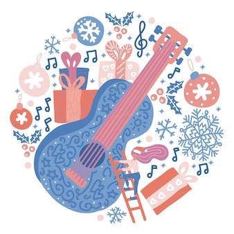Cerchio composizione di chitarra acustica con decorazioni natalizie e fiocchi di neve. concetto del fondo di vettore di festival di misic. stampa con chitarra enorme, scatole regalo, piccola donna