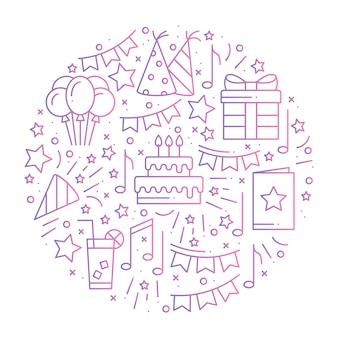 Cerchio con simboli di festa di compleanno