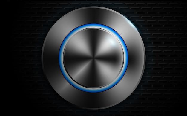 Cerchio cornice forme metalliche con sfondo azzurro neon