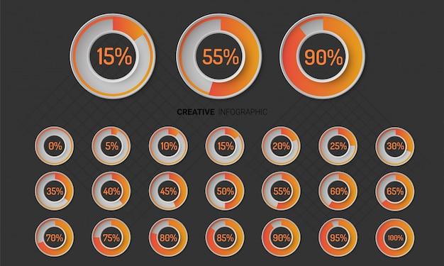 Cerchio del grafico degli elementi di infographic con l'indicazione delle percentuali