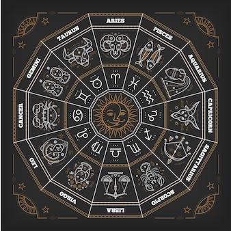 Cerchio dello zodiaco con segni dell'oroscopo. linea sottile . simboli astrologici e segni mistici.