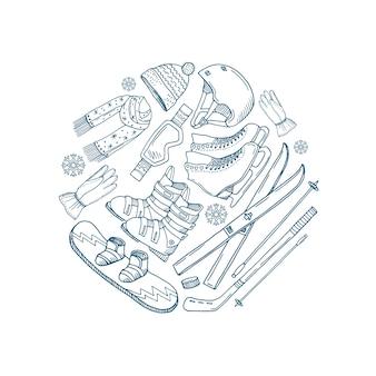Cerchio di attrezzature sportive invernali disegnato a mano