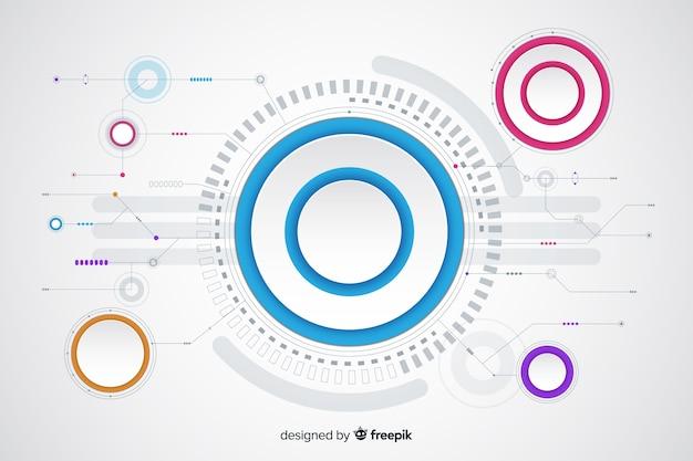 Cerchio di carta con sfondo di circuito stampato
