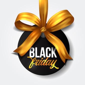 Cerchio di etichetta tag offerta di vendita del black friday con nastro dorato