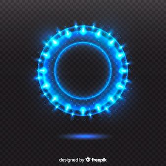 Cerchio di luce blu su sfondo trasparente