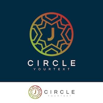 Cerchio di lusso iniziale lettera j logo design
