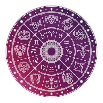 Cerchio di oroscopo astrologia brillante e bianco con segni zodiacali