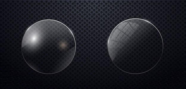 Cerchio di vetro impostato su sfondo trasparente