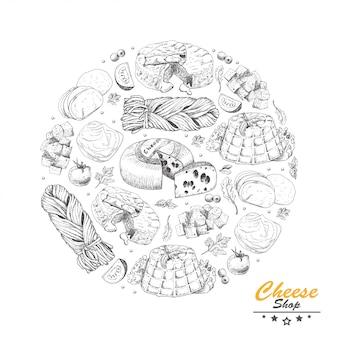 Cerchio di vettore da diversi tipi di formaggio