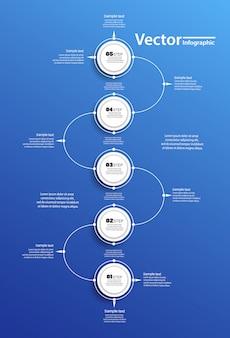 Cerchio di vettore infographic su backgraund blu