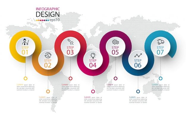 Cerchio etichetta infografica con sette passaggi