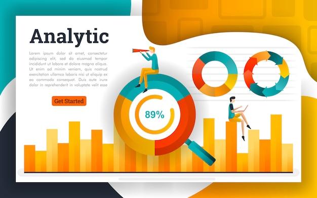 Cerchio grafico e istogramma per contabilità e affari