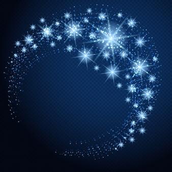 Cerchio incandescente vettoriale con stelle