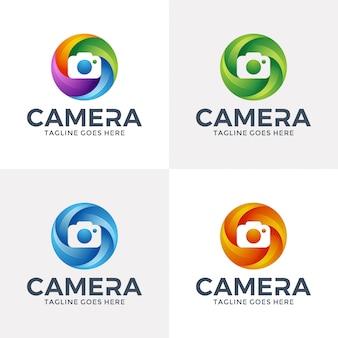 Cerchio logo design della fotocamera in stile 3d.