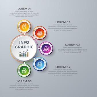 Cerchio modello di progettazione infografica con 5 scelte di processo o passaggi
