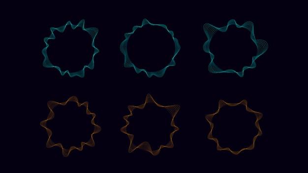 Cerchio onda con linea in ciano e arancio. oggetto astratto sul concetto di suono e tecnologia.