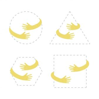Cerchio, quadrato, triangolo, forma esagonale con abbraccio di mano gialla.