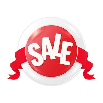 Cerchio rosso etichetta di vendita con nastro.