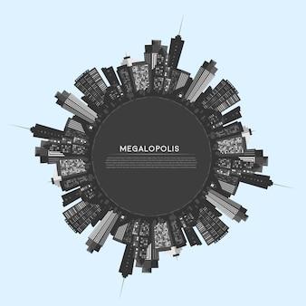 Cerchio vettoriale città moderna.