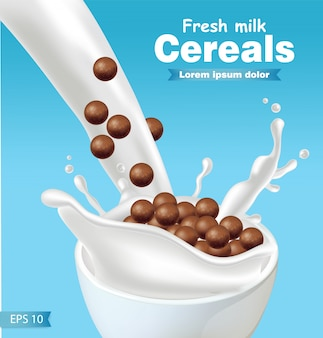 Cereali al cioccolato in spruzzata di latte realistico