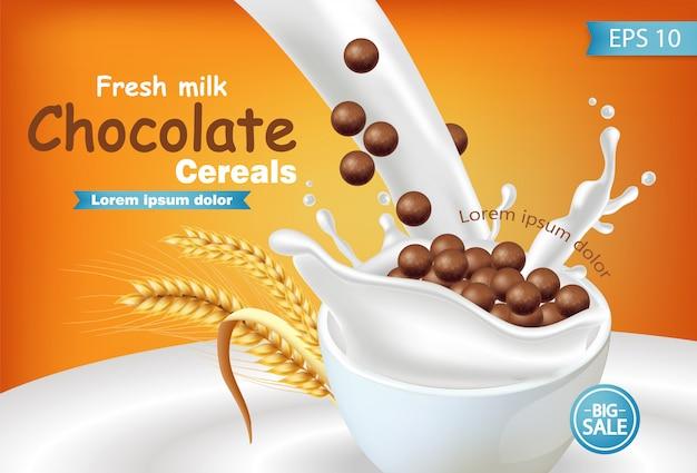 Cereali biologici al cioccolato in mockup di latte splash realistico