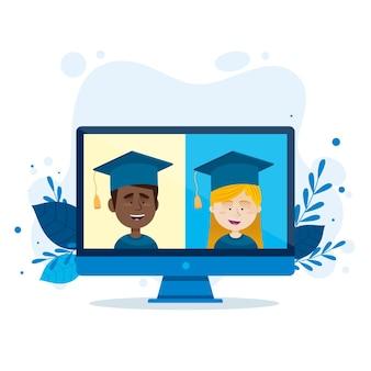 Cerimonia di laurea virtuale con computer