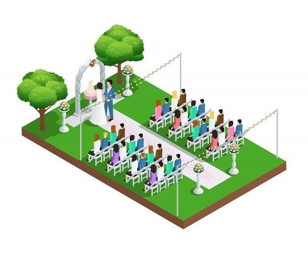 Cerimonia di nozze nella composizione isometrica del parco