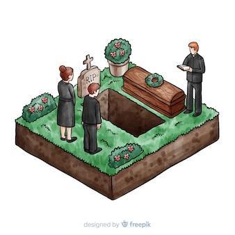 Cerimonia funebre ad acquerello