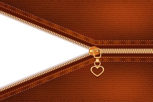 Cerniera metallica dorata cucita su pelle
