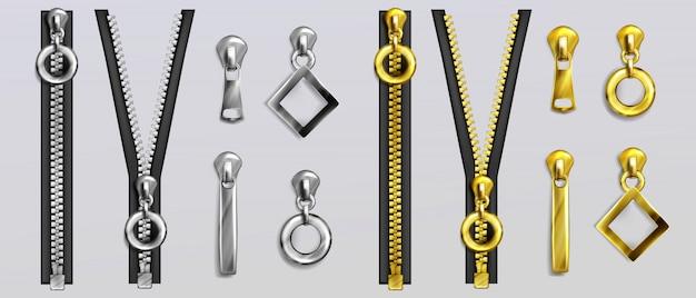 Cerniere argento e oro con estrattori di forme diverse isolati su sfondo grigio. set realistico di chiusure lampo in metallo aperte e chiuse e cursori per vestiti e accessori