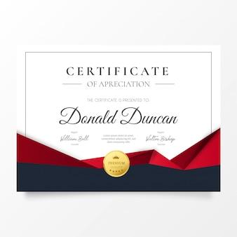 Certificato astratto di apprezzamento con forme geometriche