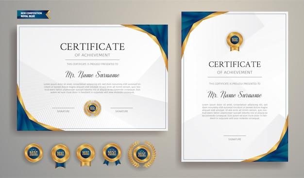 Certificato blu e oro del modello del bordo di apprezzamento con distintivi di lusso e modello di linea moderna. per esigenze di premiazione, affari e istruzione