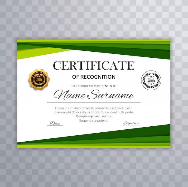 Certificato con il vettore degli elementi di progettazione dell'onda verde