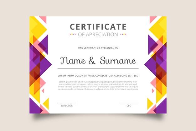 Certificato creativo di riconoscimento apprezzamento