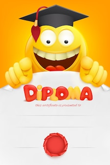 Certificato del modello del diploma con il personaggio dei cartoni animati di smiley giallo di emoji. .