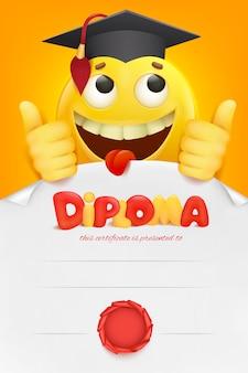 Certificato del modello del diploma con il personaggio dei cartoni animati di smiley giallo di emoji.