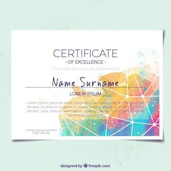 Certificato di apprezzamento astratto con forme colorate