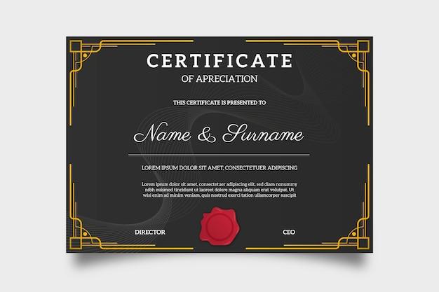 Certificato di apprezzamento creativo premio sfondo nero