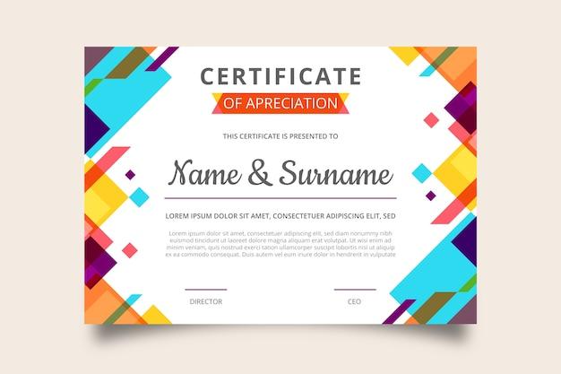 Certificato di apprezzamento di design geometrico alla moda