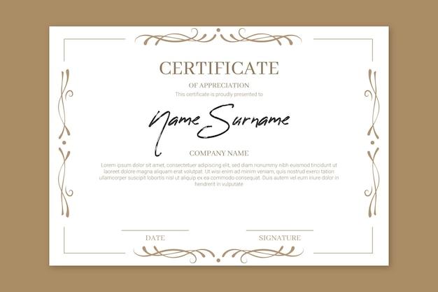 Certificato di apprezzamento elegante realizzazione