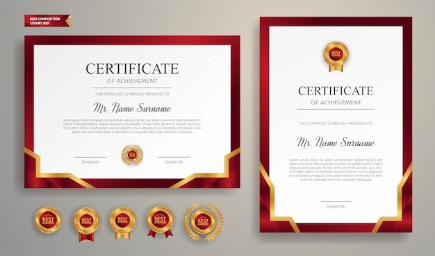 Certificato di apprezzamento in colore rosso e oro con badge oro e modello di bordo