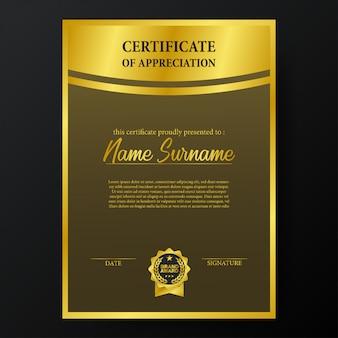 Certificato di bellezza con modello emblema medaglia premio medaglia d'oro