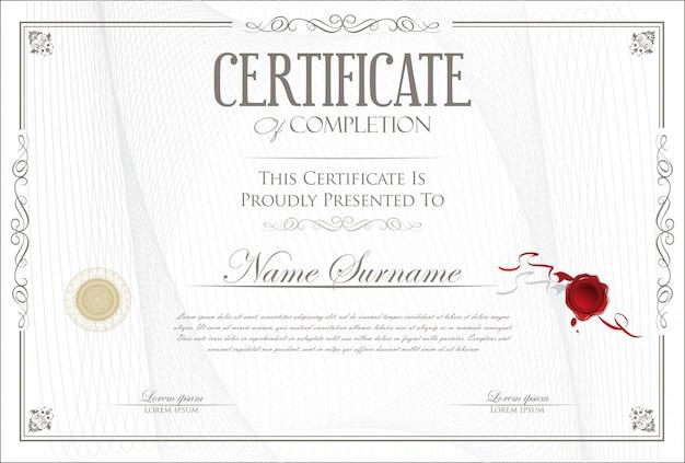 Certificato di completamento modello design retrò